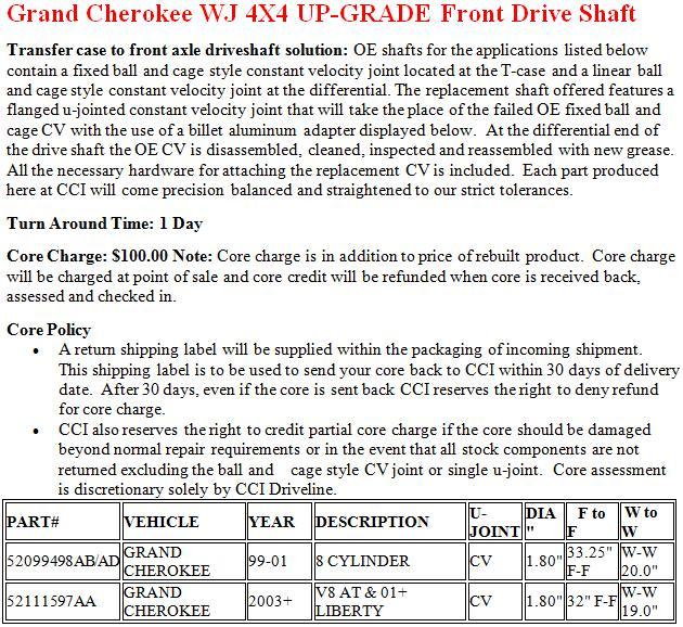 Grand Cherokee WJ 4X4 UP-GRADE Front Drive Shaft